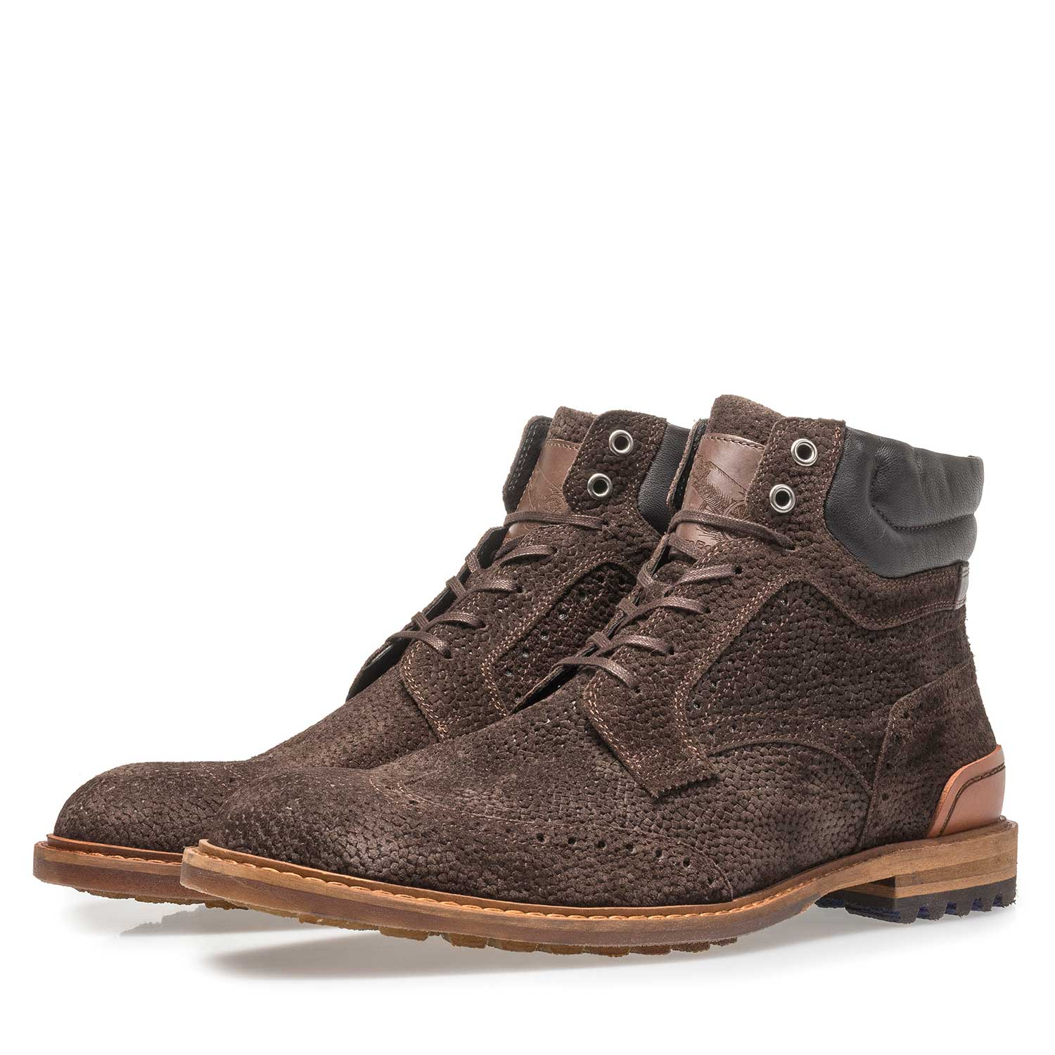 10816/07 - Dark brown suede lace boot with print