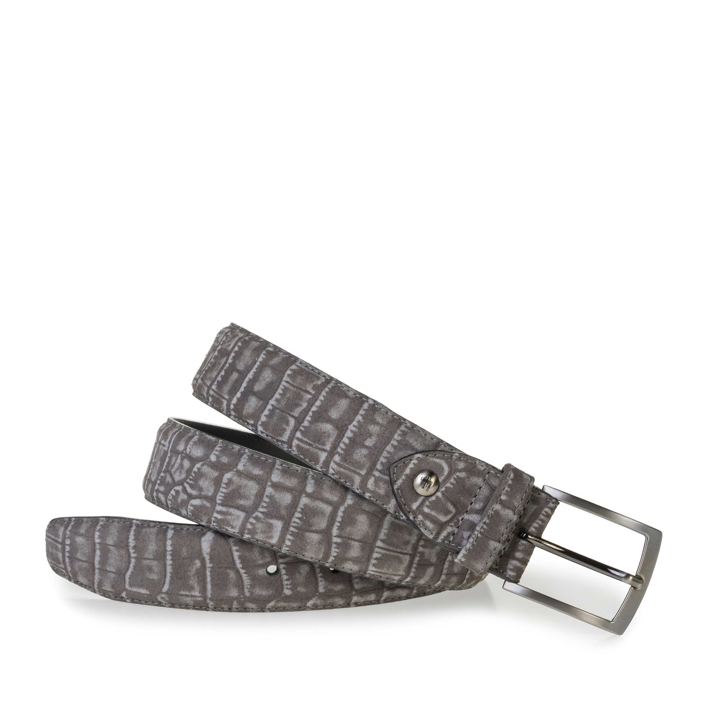 75201/81 - Dark grey suede leather belt with croco print