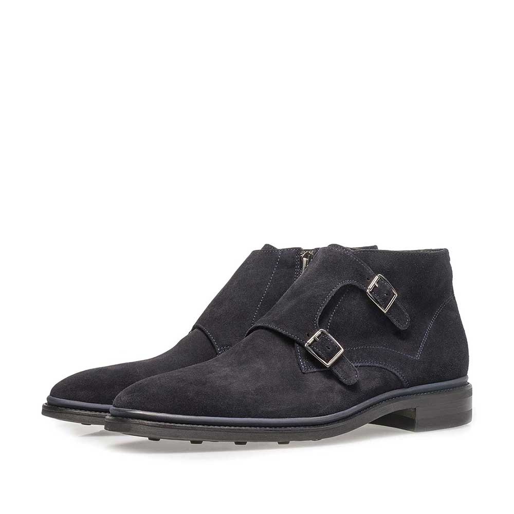 10672/01 - Dark blue calf leather monk strap