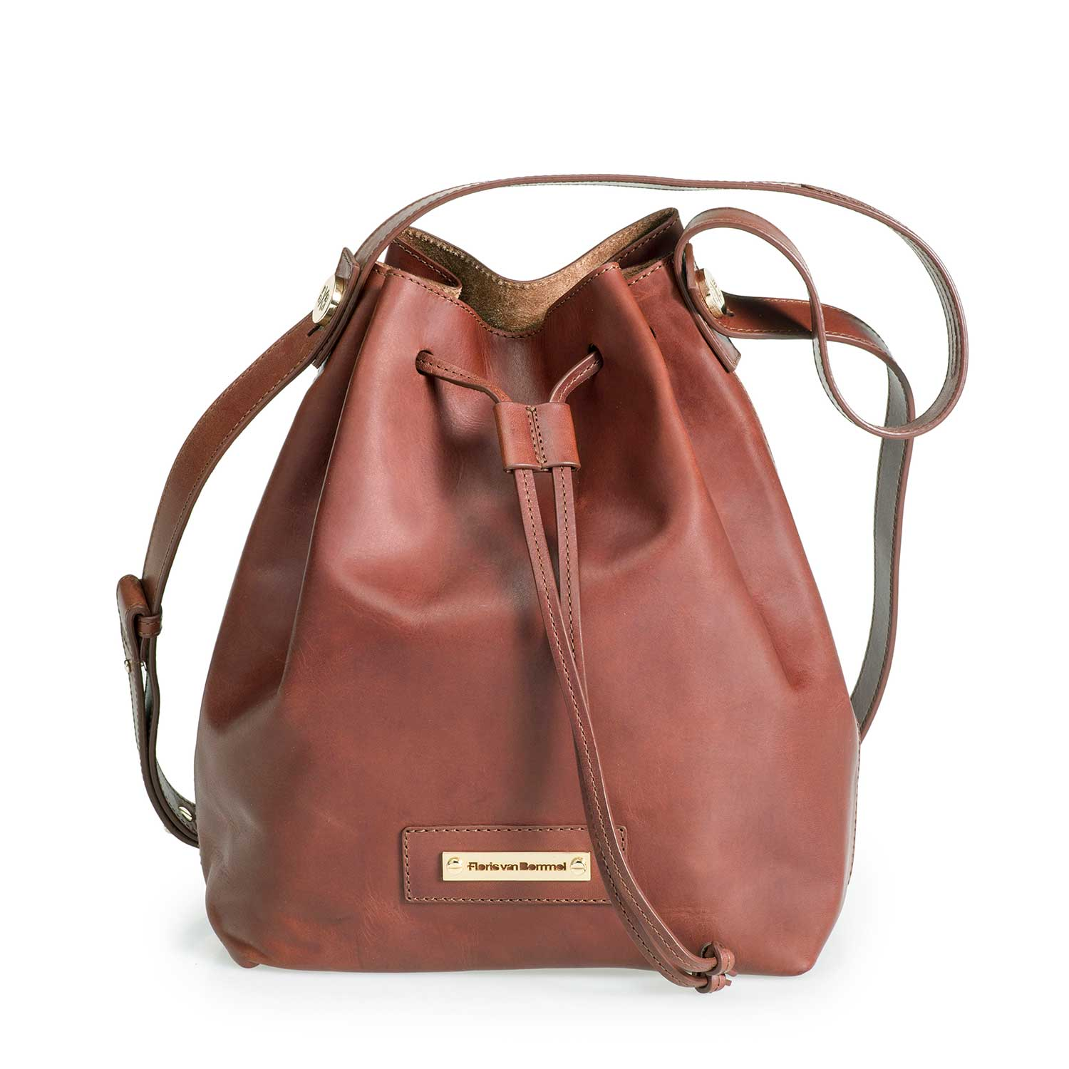 89007/01 - Brown leather bucket bag