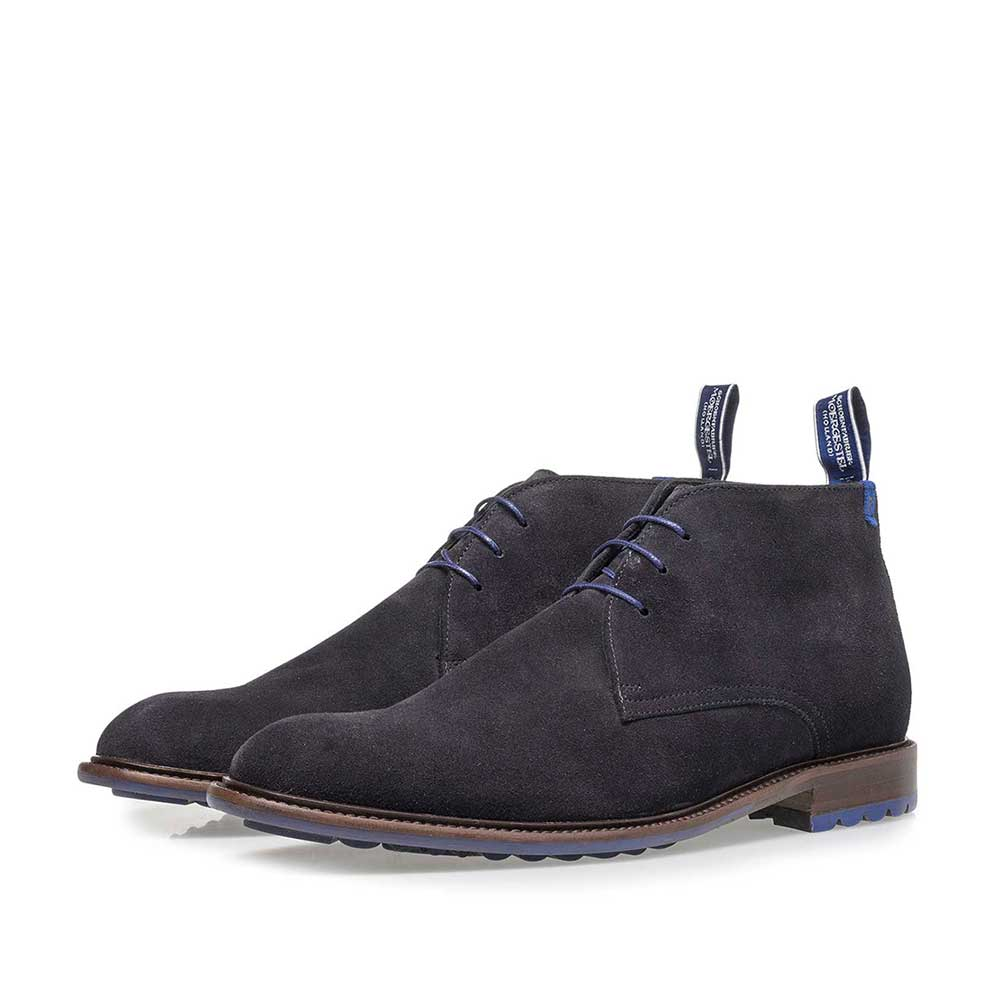10203/16 - Dark blue suede leather lace shoe