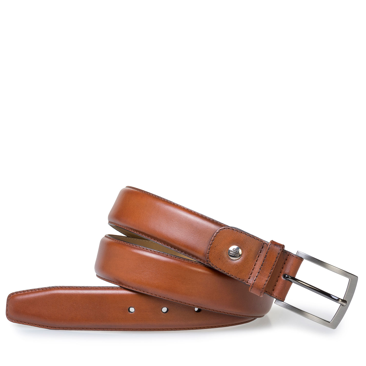 75076/32 - Dark cognac-coloured calf leather belt