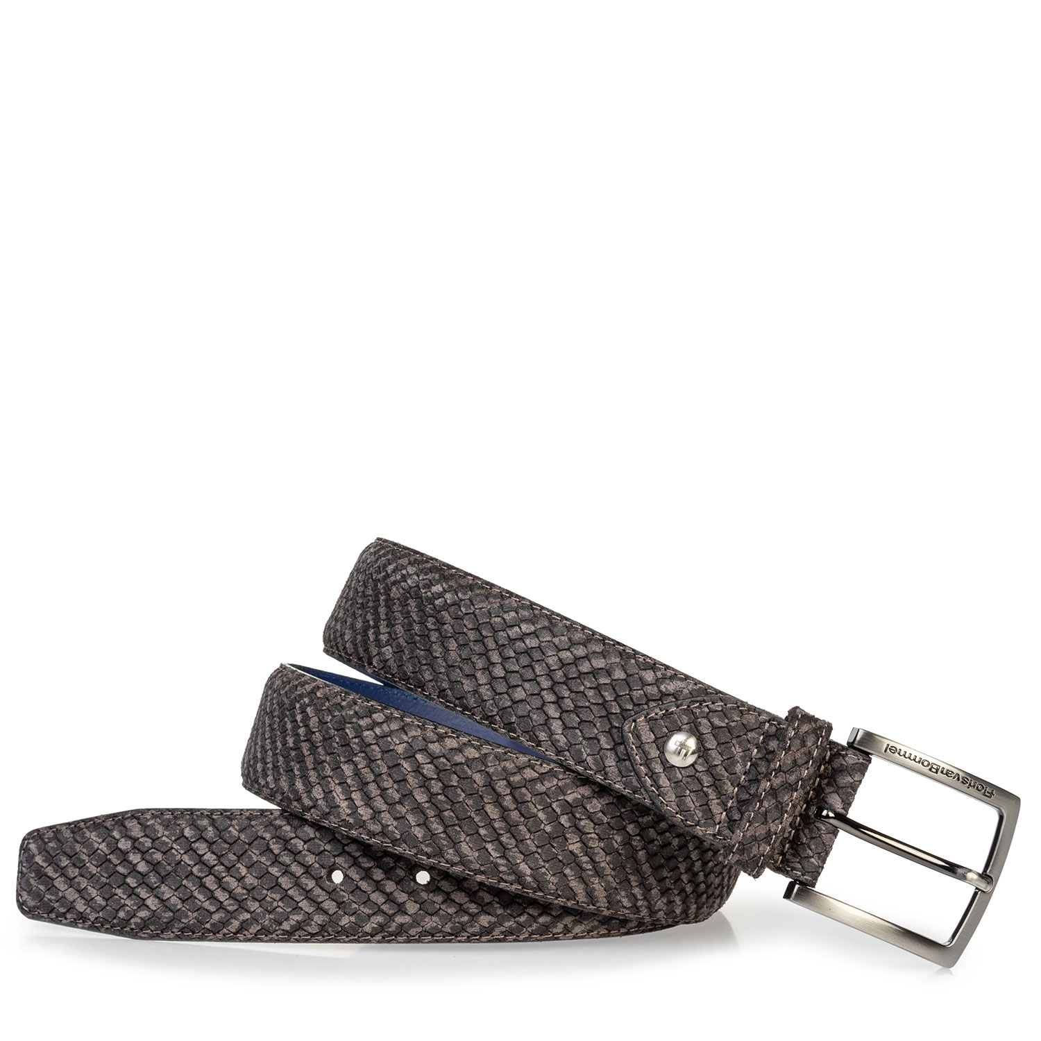 75204/13 - Suede leather belt grey with black print