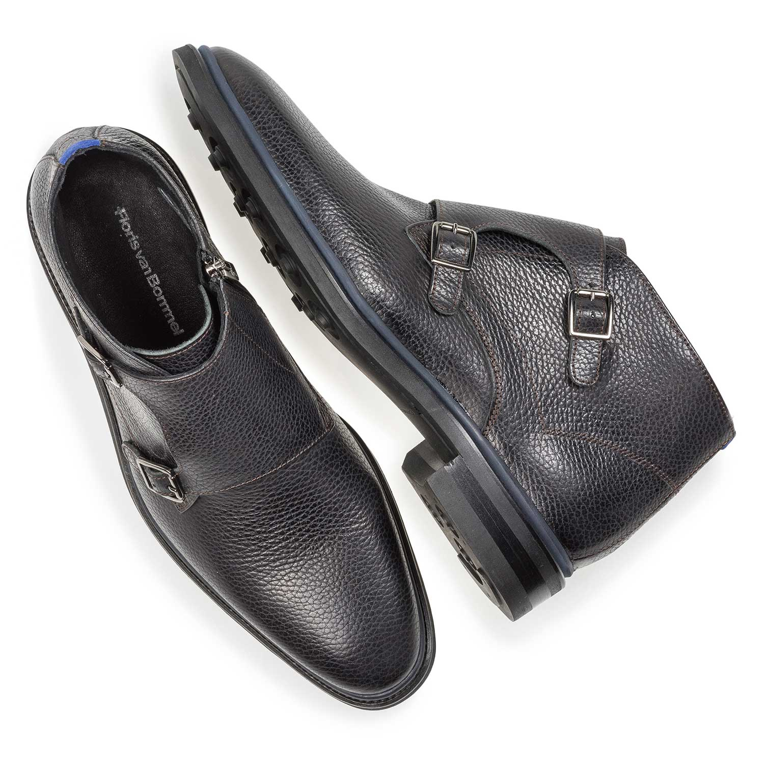 10672/03 - Black calf leather monk strap with print
