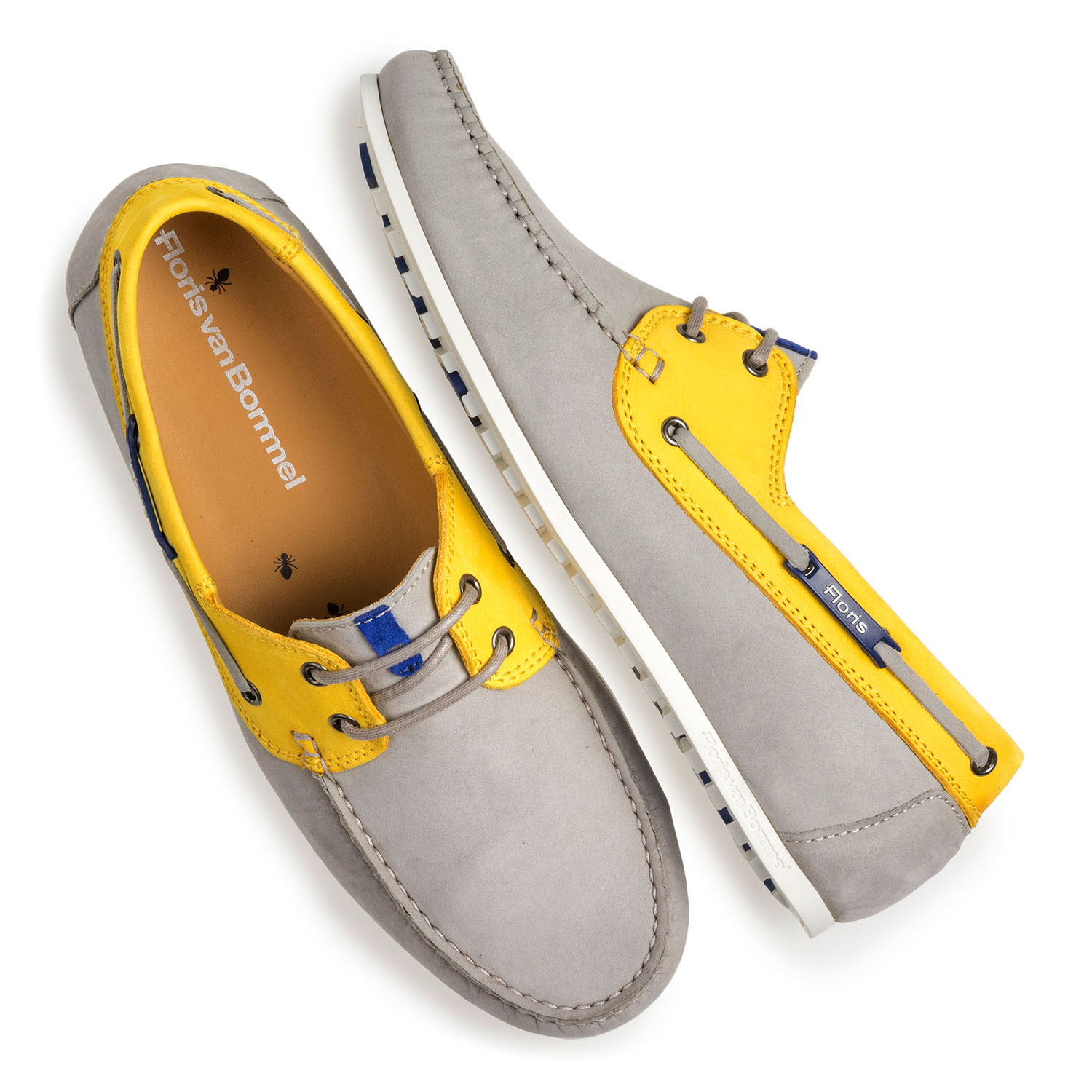 15035/13 - Grey and yellow nubuck leather boat shoe