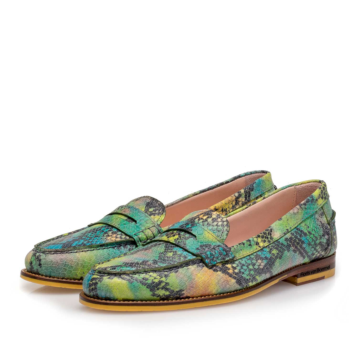 85409/12 - Green snake print leather loafer
