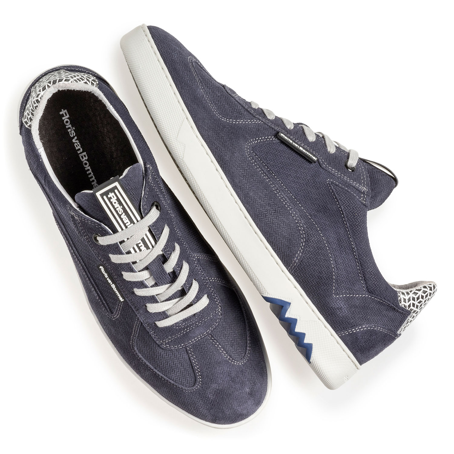 16342/22 - Blue suede leather sneaker with print