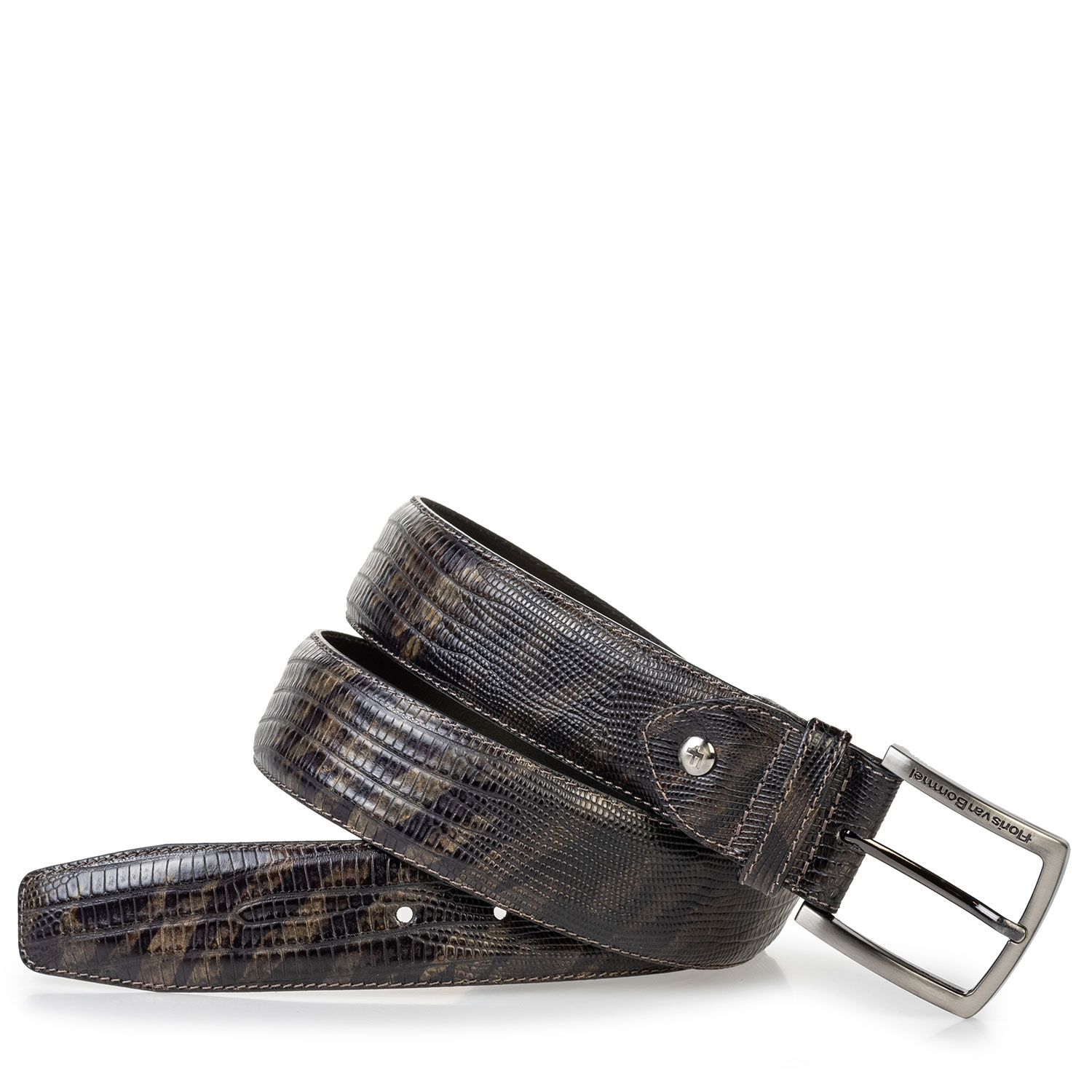 75202/75 - Leather belt lizard print green