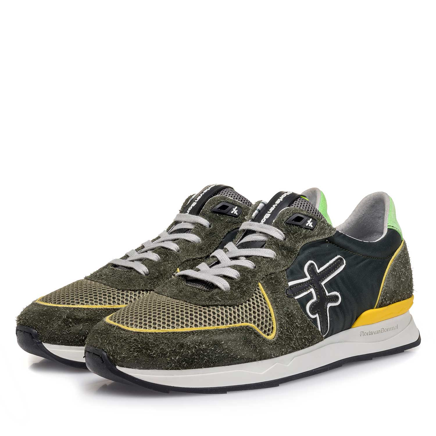 16246/02 - Green-yellow suede leather sneaker