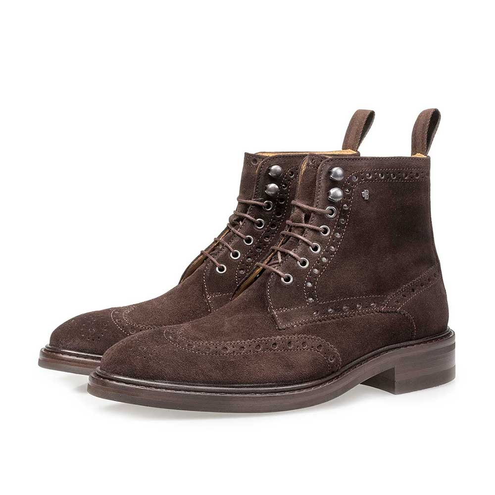 10165/00 - Brown suede leather brogue lace boot
