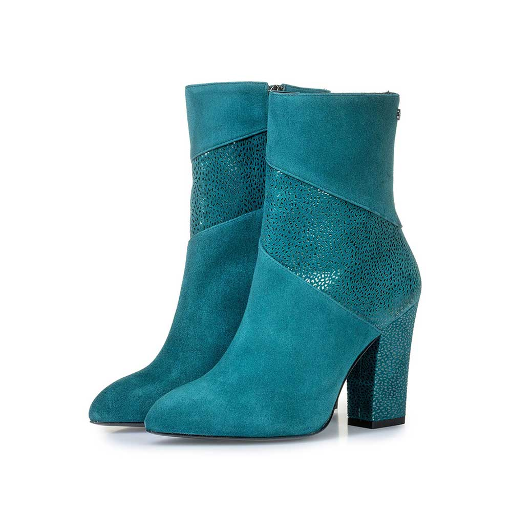 85622/00 - Blue ankle boots with metallic print