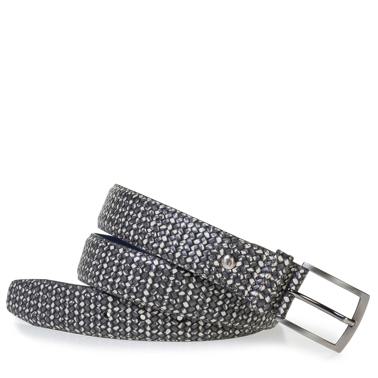 75200/79 - Dark grey leather belt with a white print