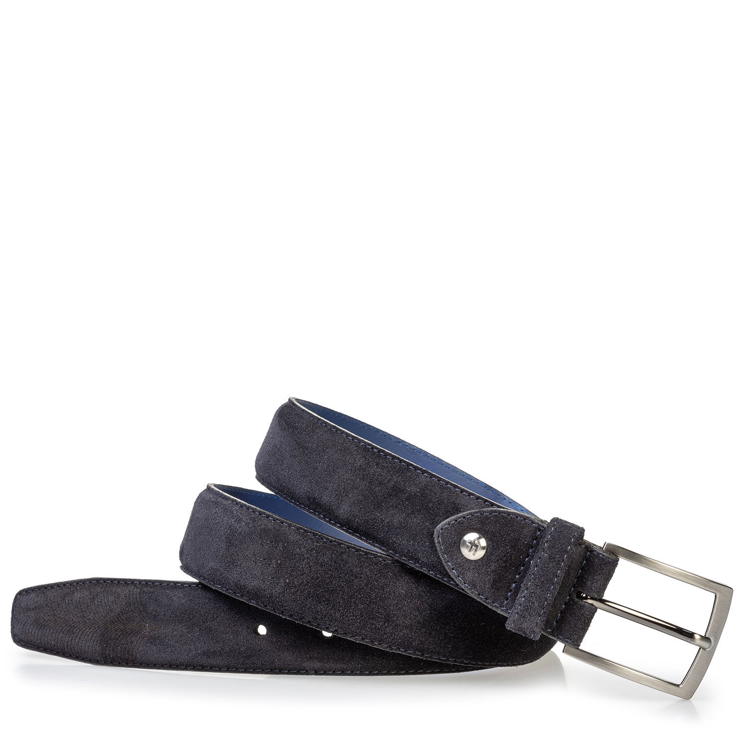 75217/03 - Suede leather belt with laser-cut print blue