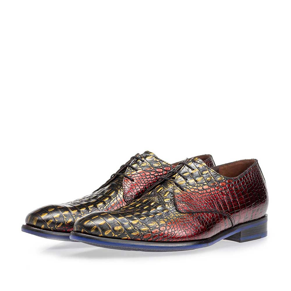 18167/07 - Lace shoe red croco leather