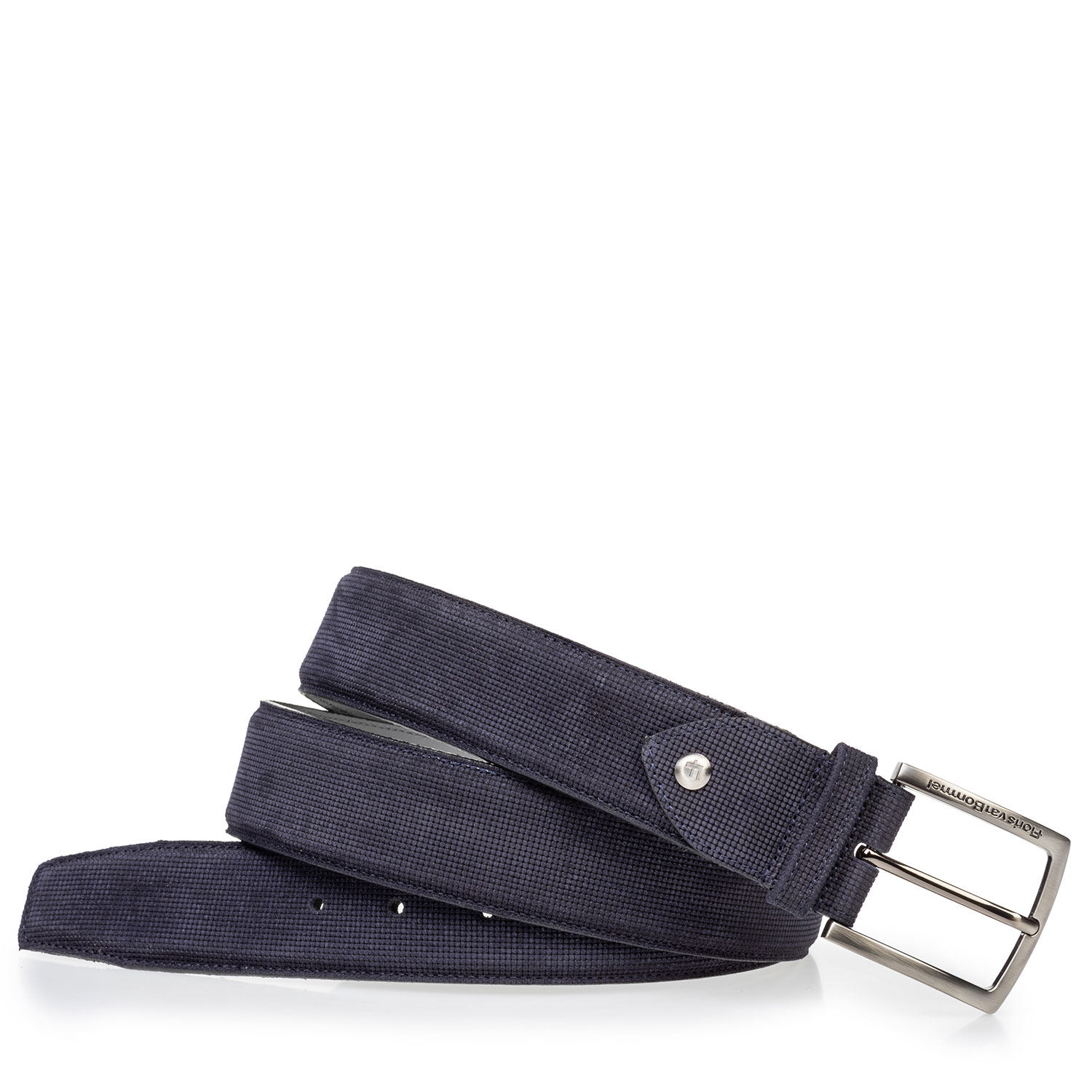 75204/01 - Suede leather belt blue with print