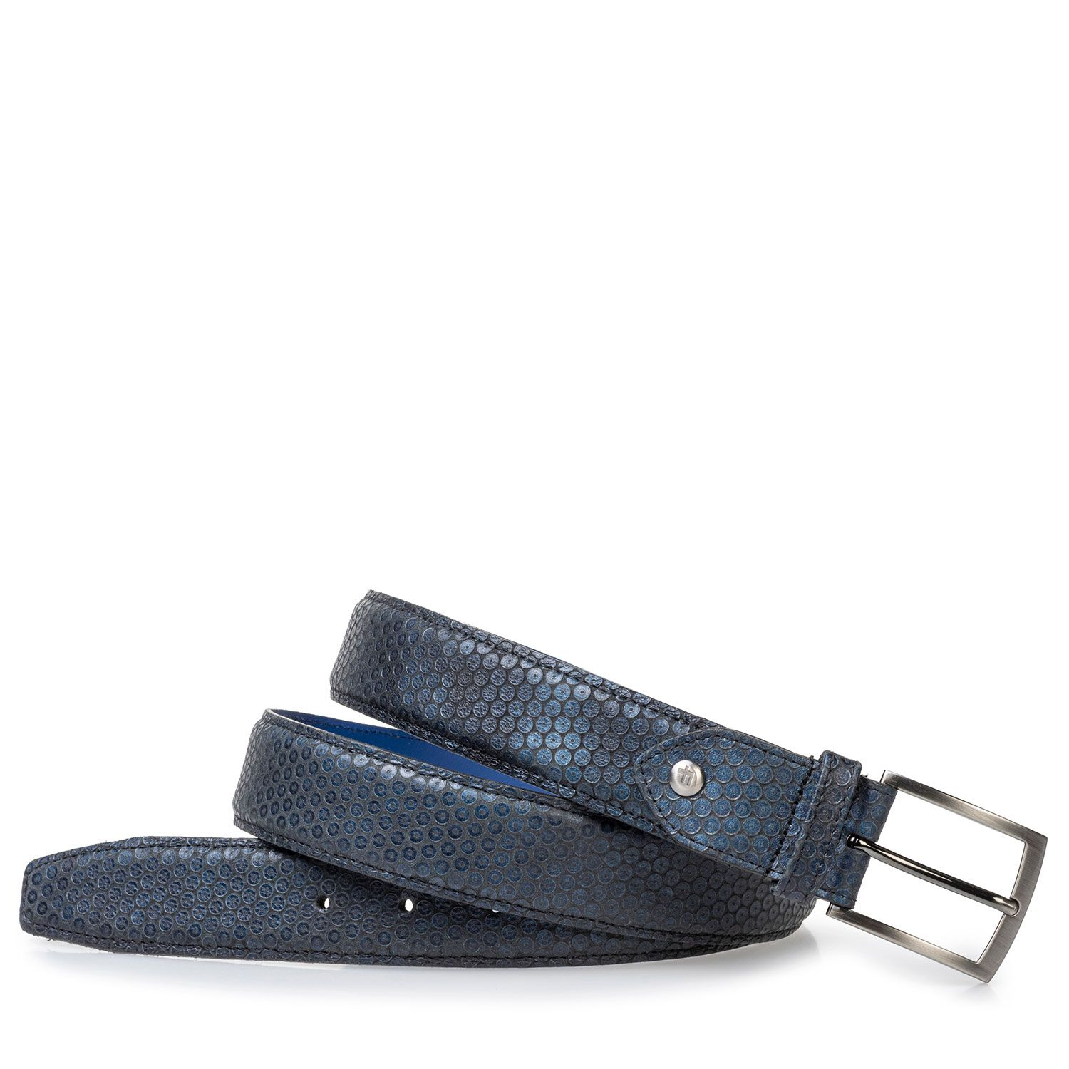 75203/51 - Leather belt blue with print