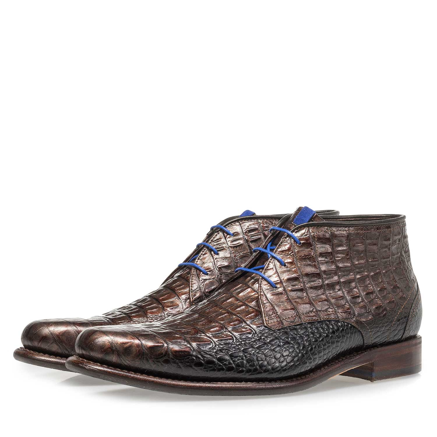 10634/08 - Bronze-coloured leather lace boot with croco print