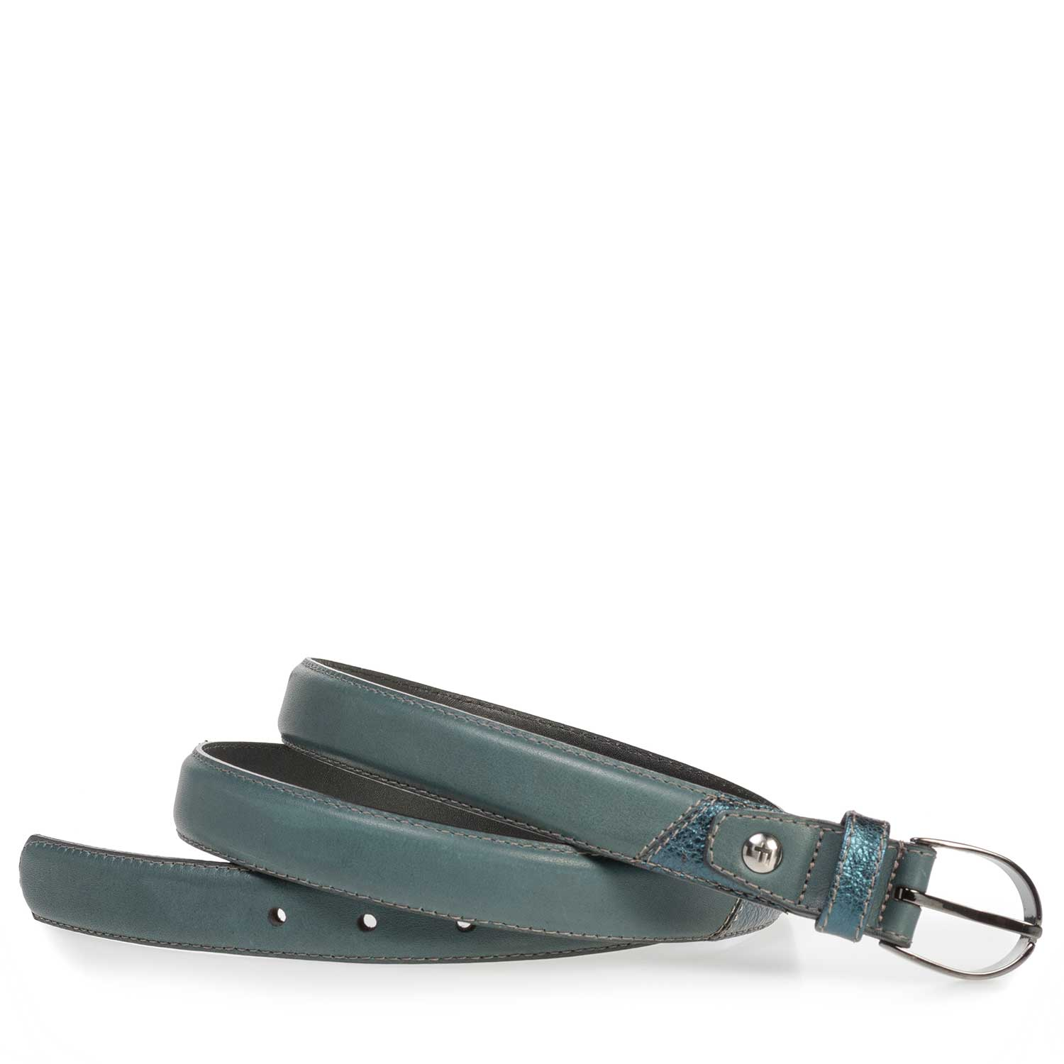 75814/12 - Green and blue calf leather belt
