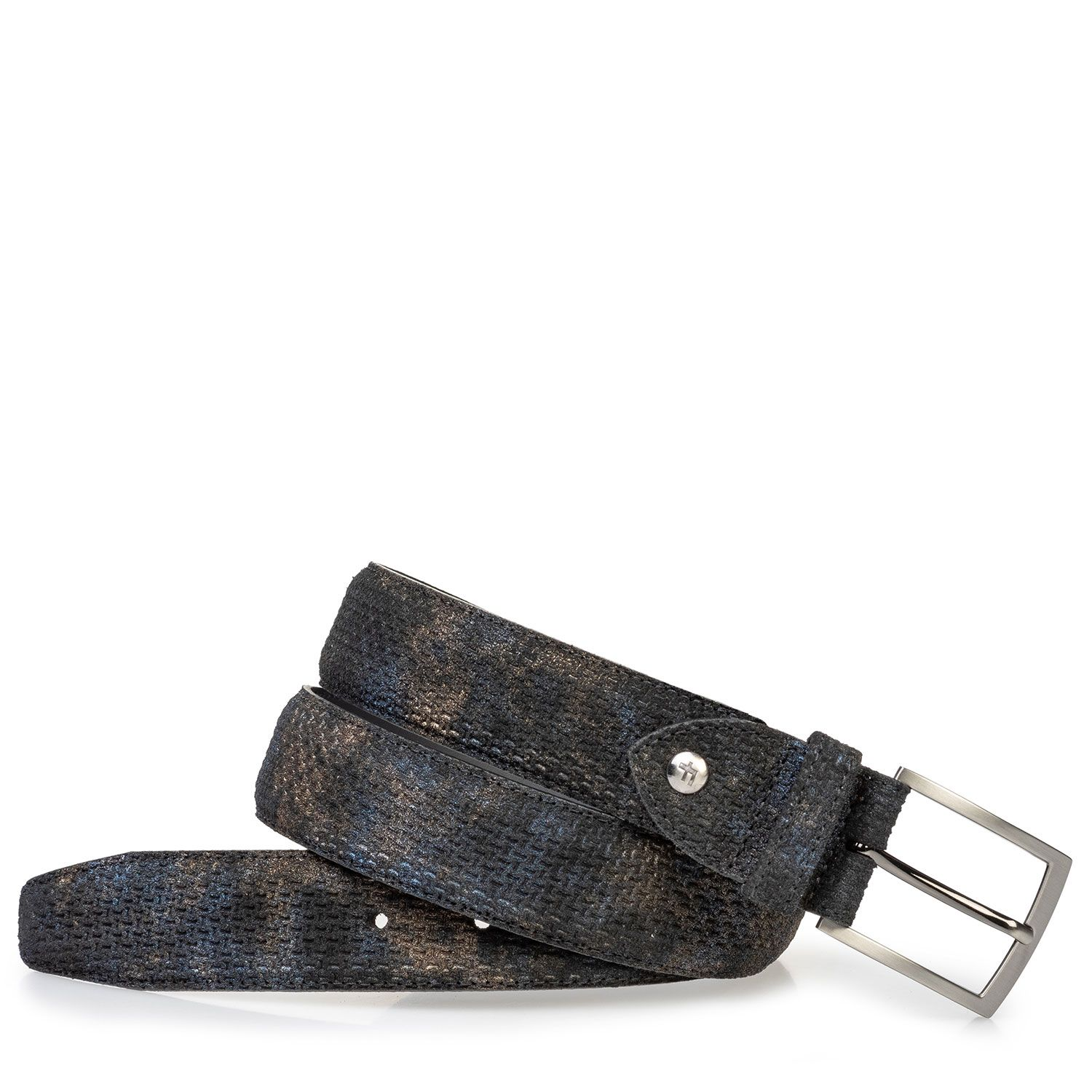 75203/45 - Suede leather belt bronze with print