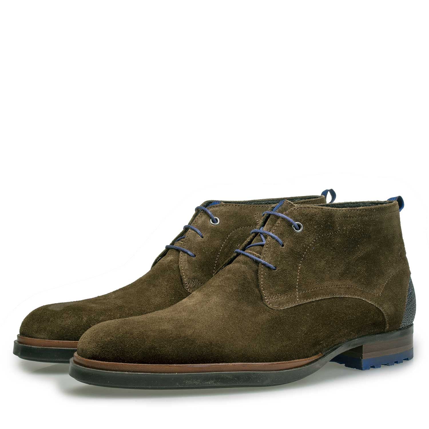 10947/12 - Olive green calf's suede leather lace boot
