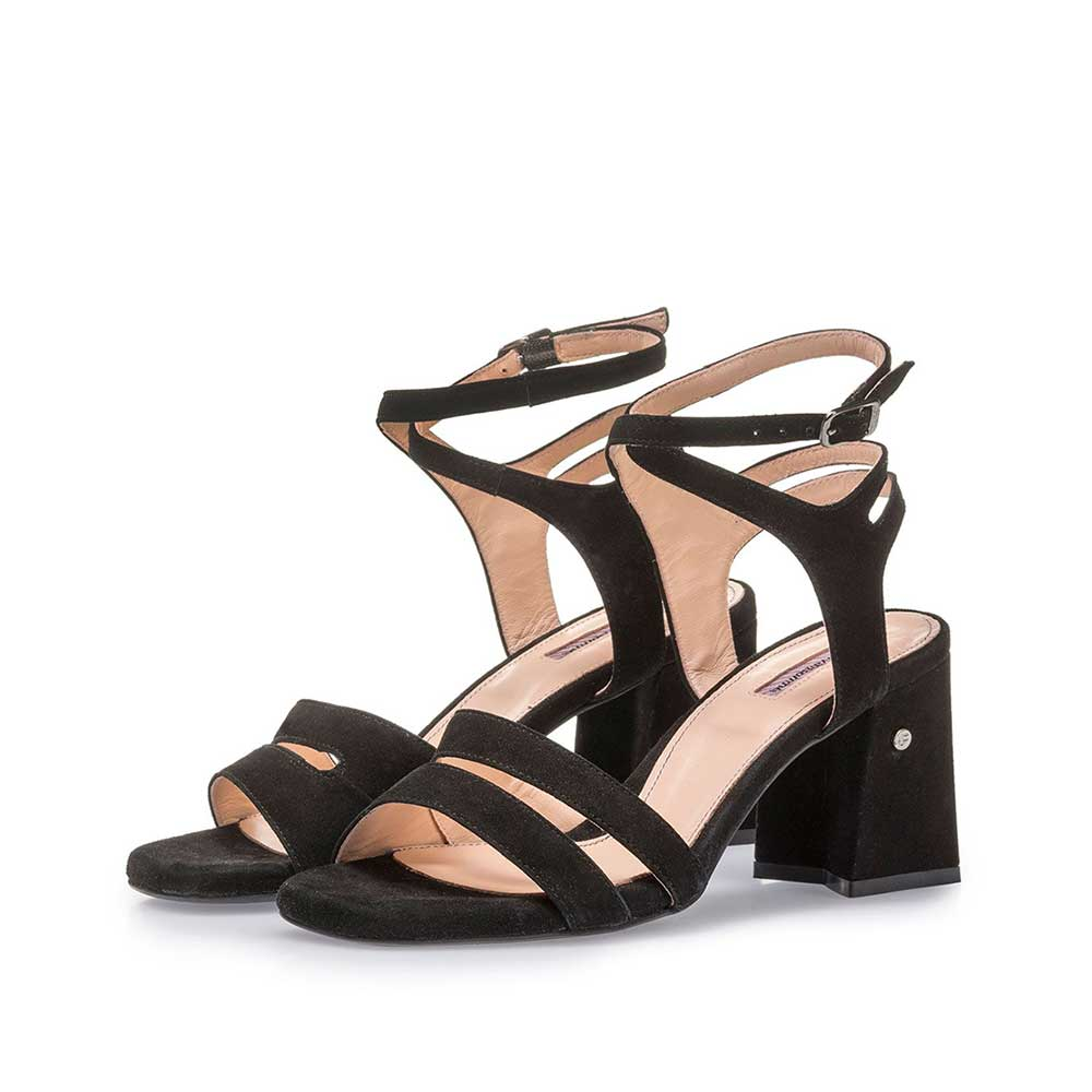 85943/07 - Black high-heeled suede leather sandals