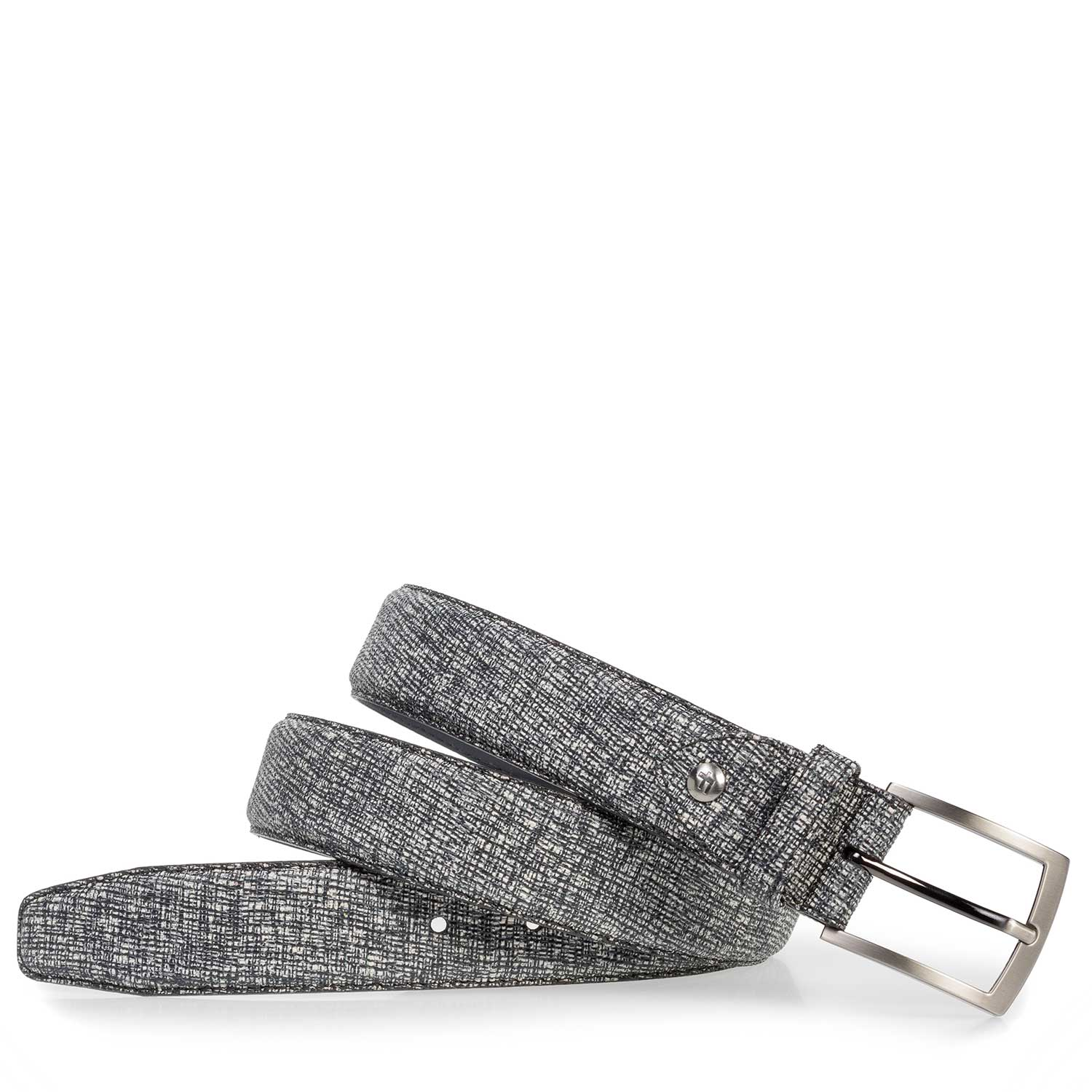 75201/05 - Grey leather belt with black print