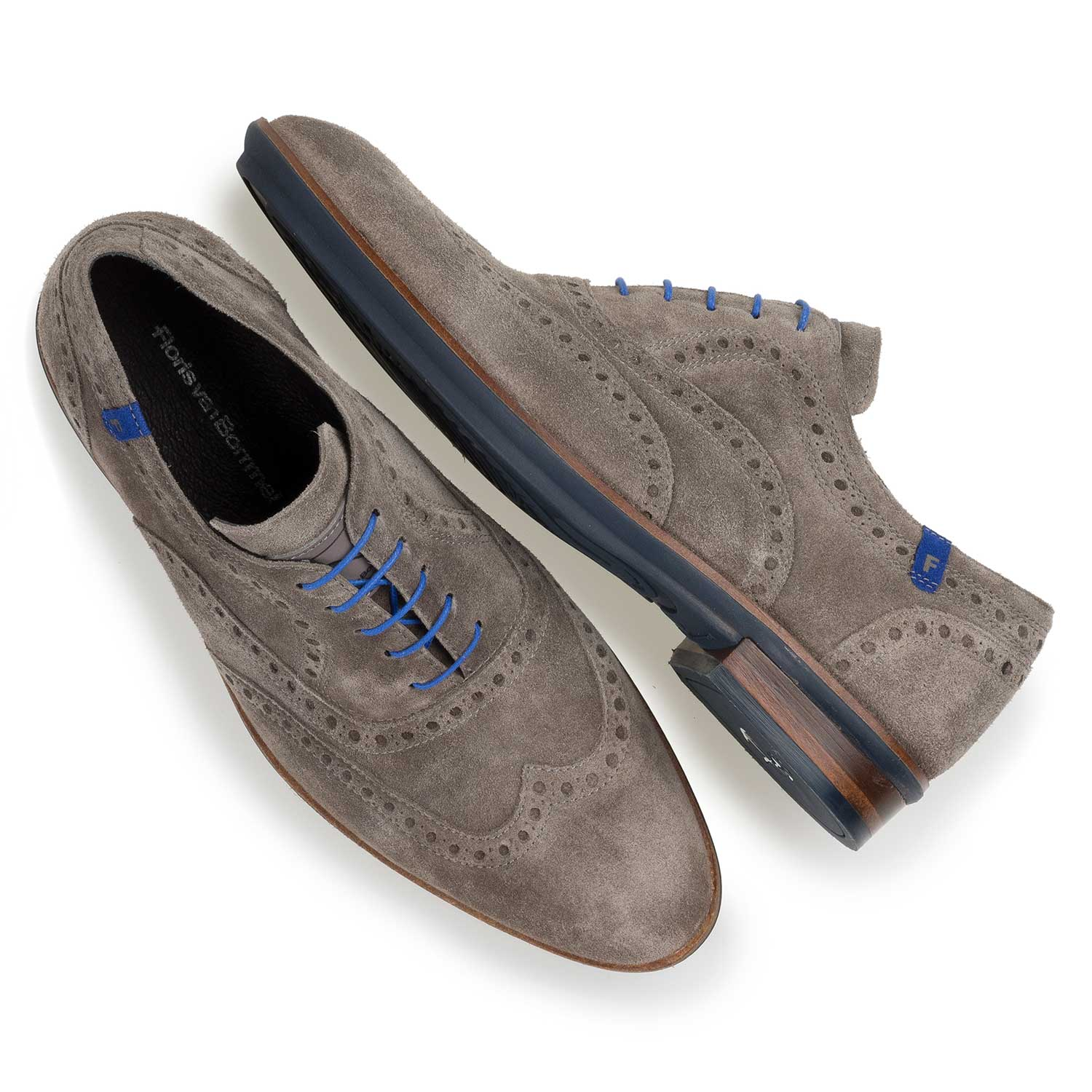 19048/08 - Taupe-coloured suede leather brogue shoe