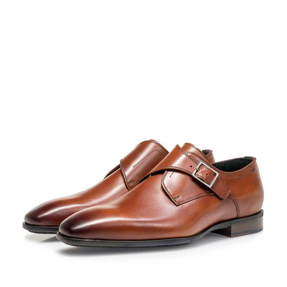 12341/03 - Cognac-coloured calf leather monk strap