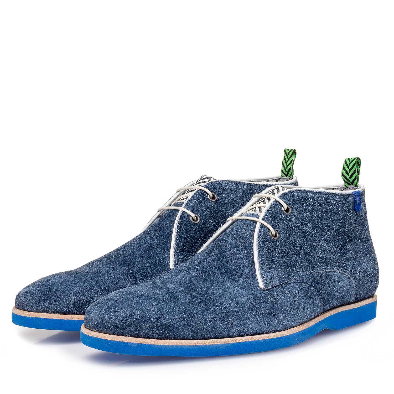 10014/06 - Blue rough suede leather lace boot