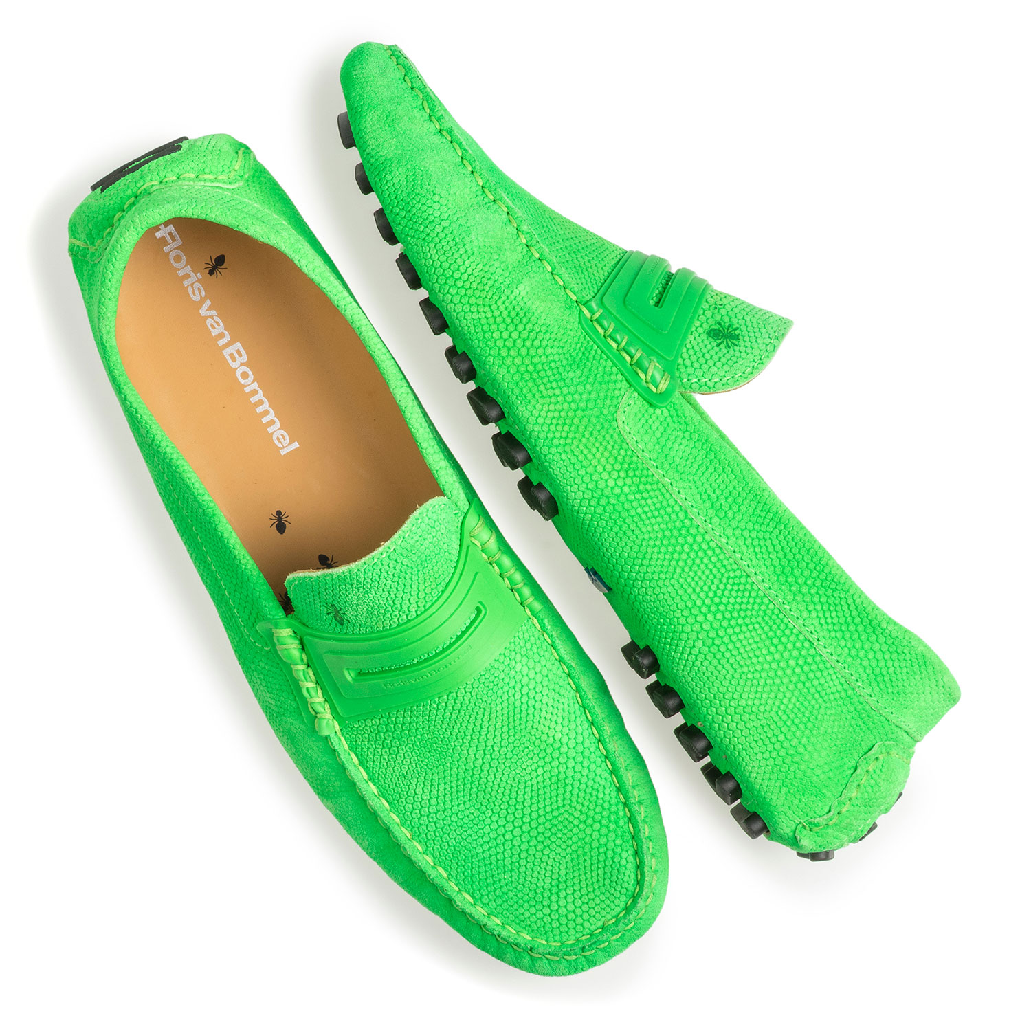 15215/00 - Premium fluorescent green leather moccasin