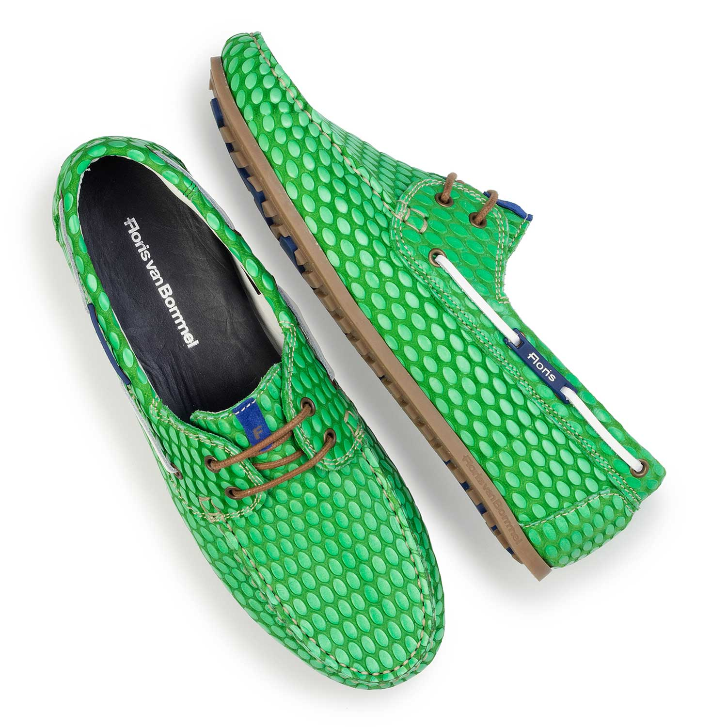 15055/00 - Green, printed leather boat shoe