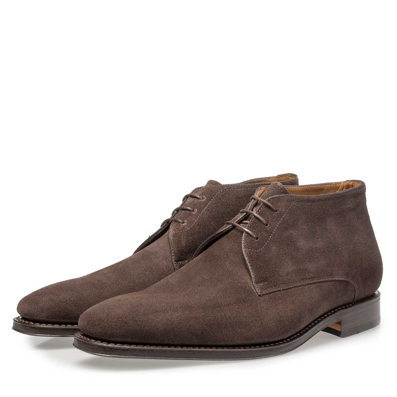 10650/02 - Dark brown waxed suede leather lace shoe