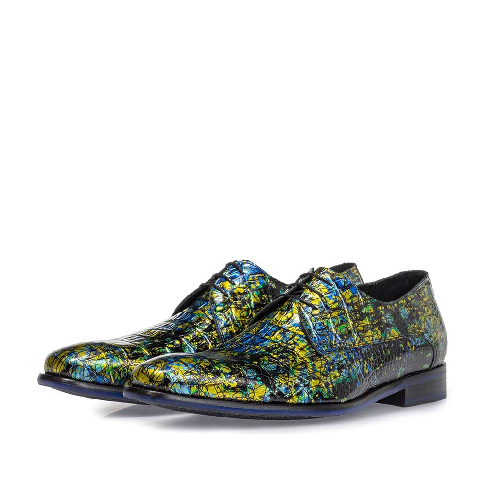 18102/06 - Lace shoe printed leather yellow