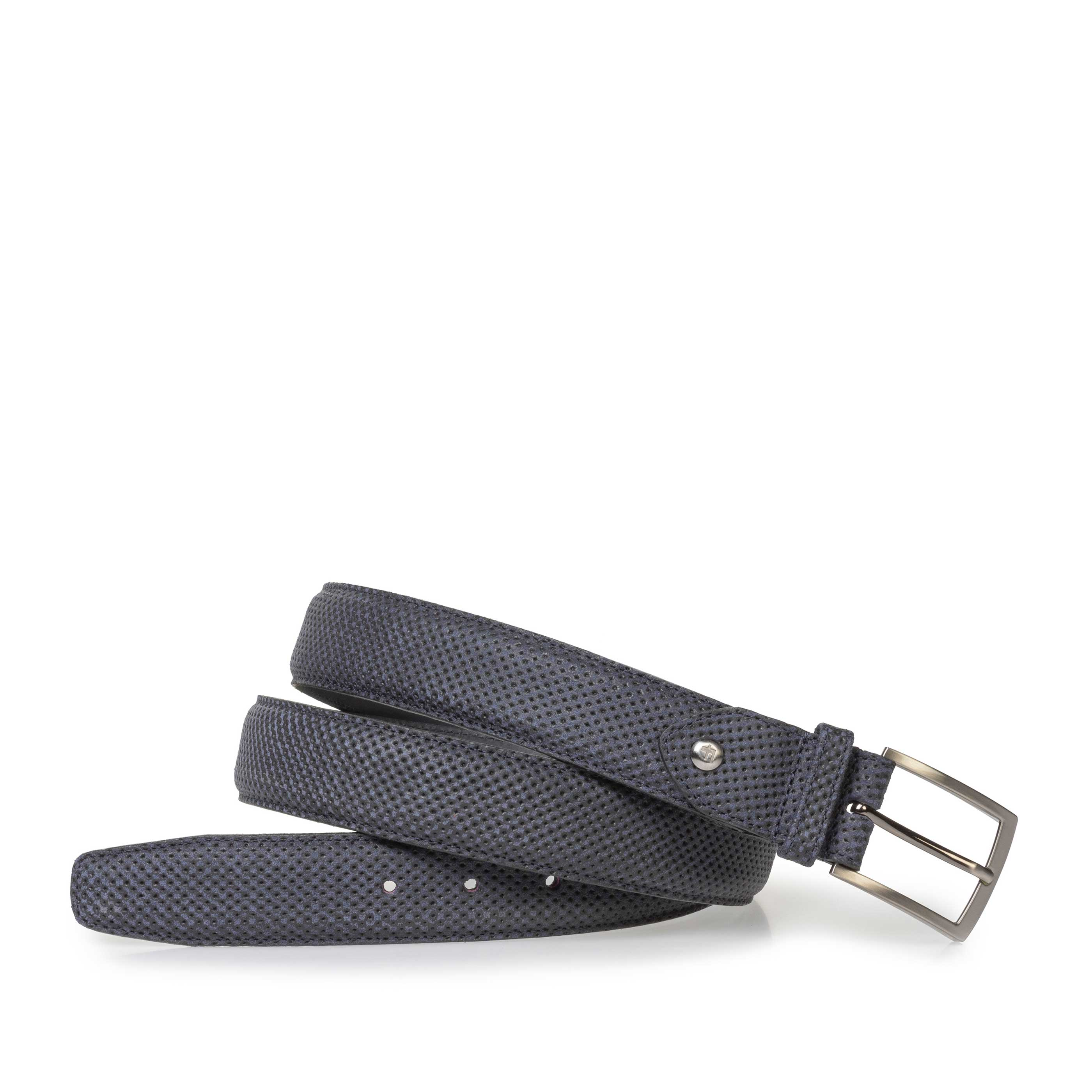 75201/76 - Dark blue suede leather belt with print