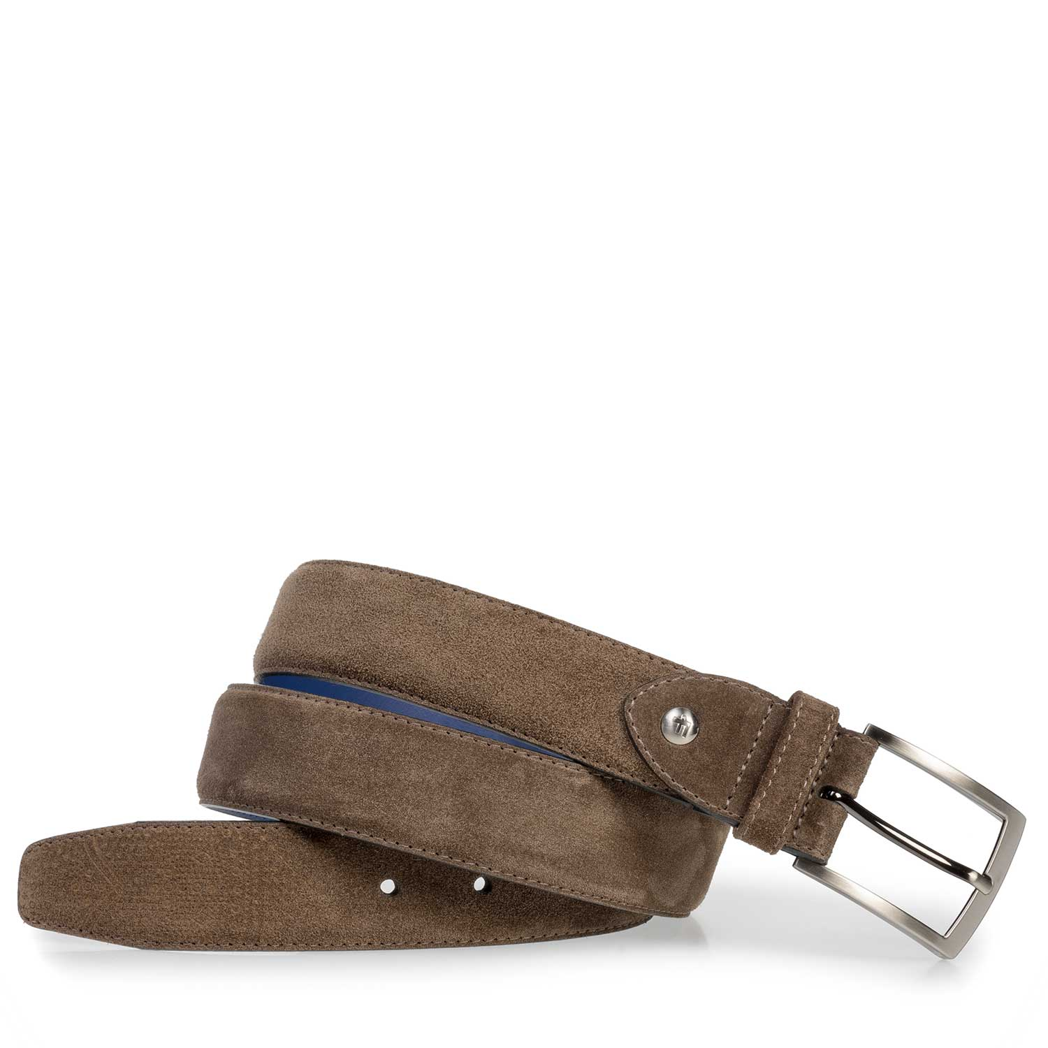 75210/04 - Dark taupe-coloured suede leather belt