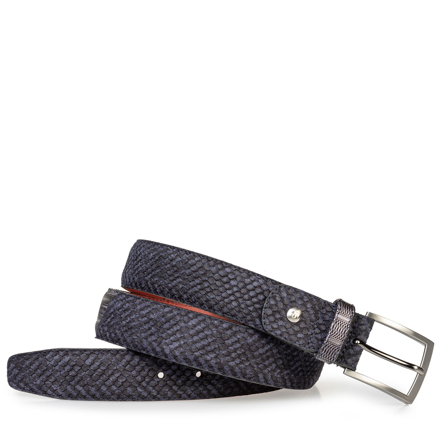 75188/78 - Suede leather belt blue with black print