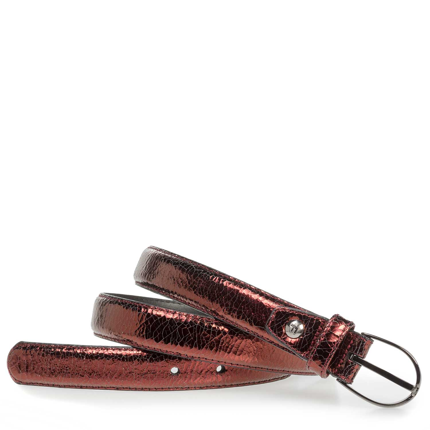 75813/47 - Red leather belt with metallic print