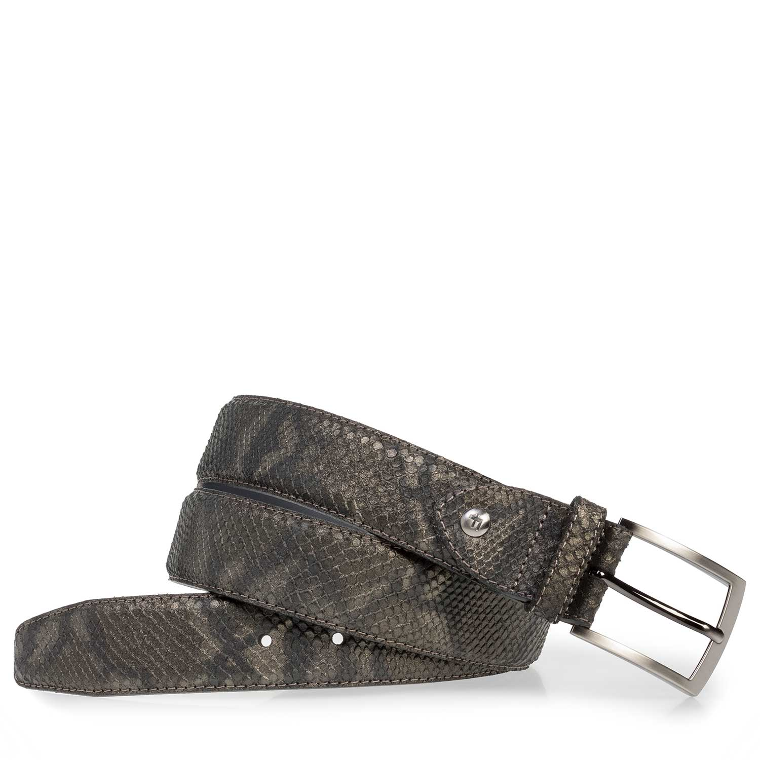 75201/01 - Leather belt with olive green snake print