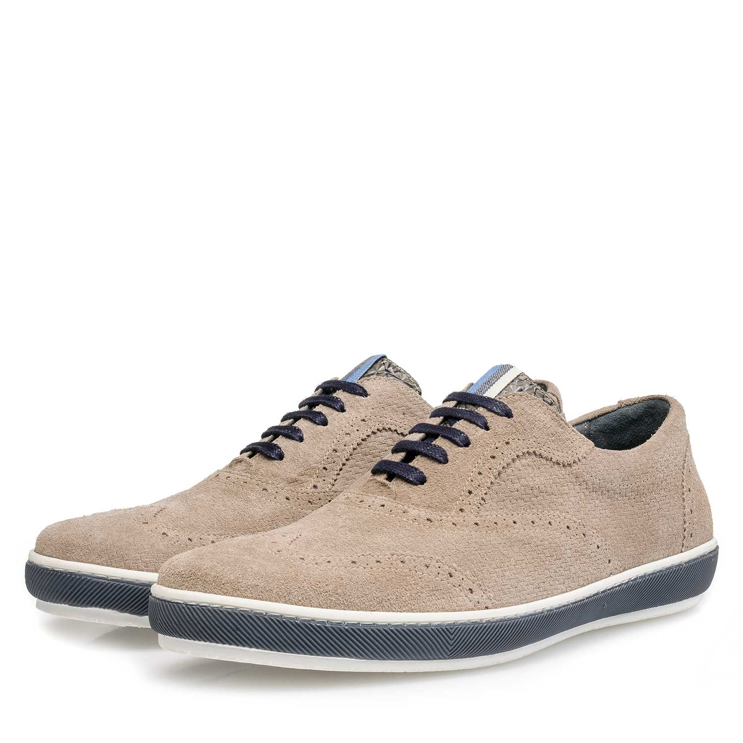 19036/42 - Taupe-coloured suede leather brogue shoe