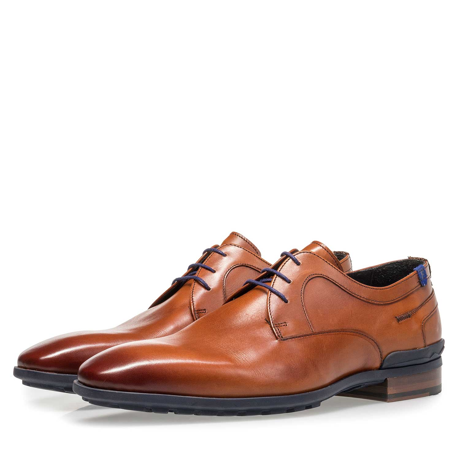 18429/00 - Dark cognac-coloured calf leather lace shoe
