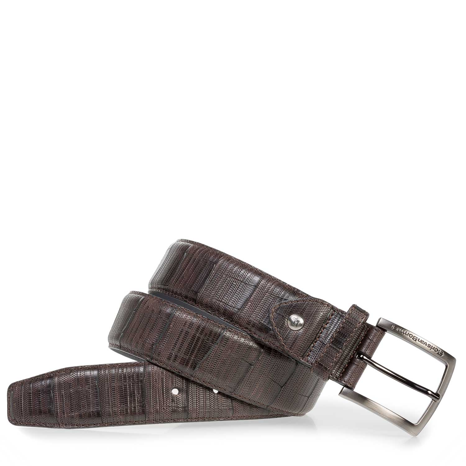 75202/04 - Dark brown leather belt with print
