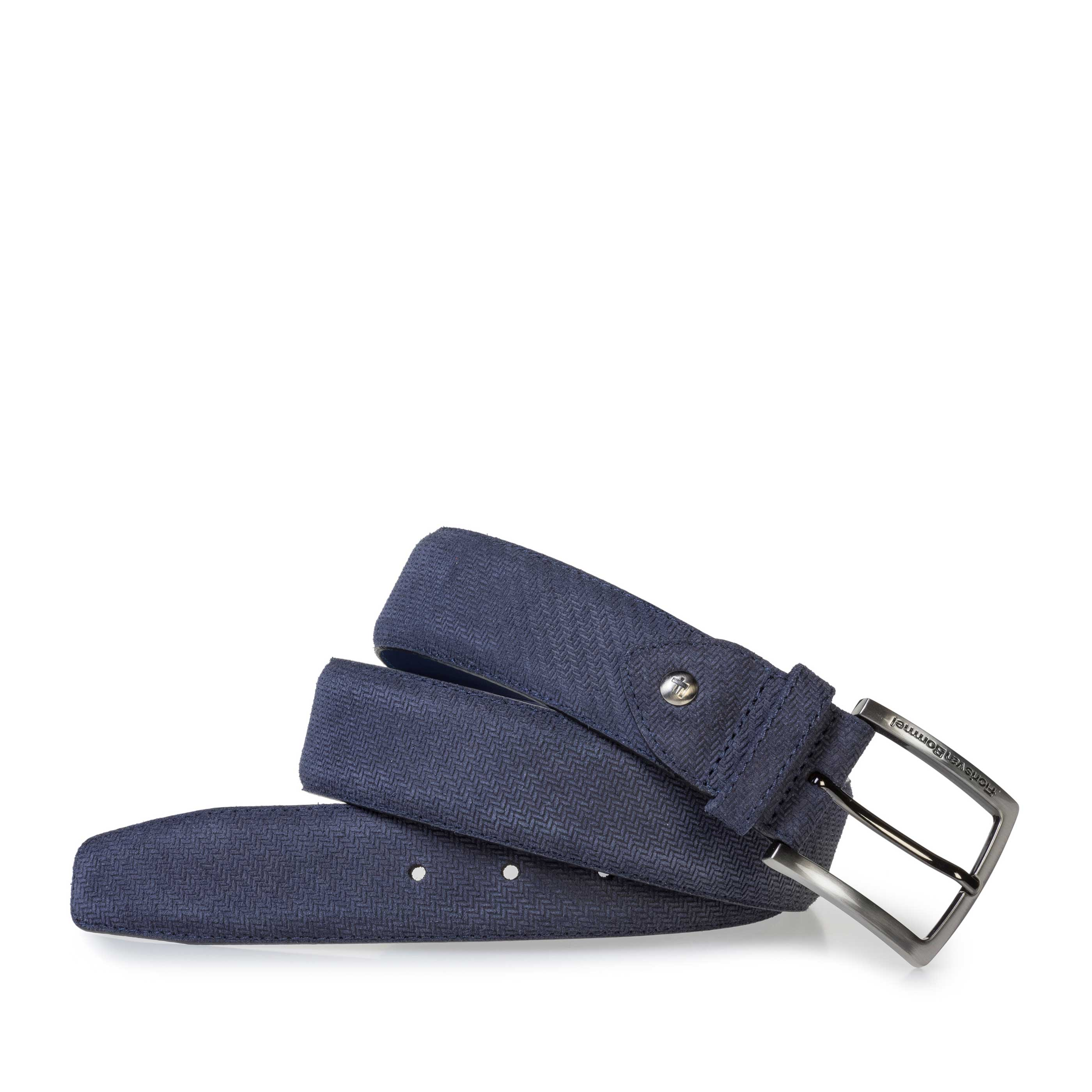 75202/44 - Dark blue suede leather belt with print