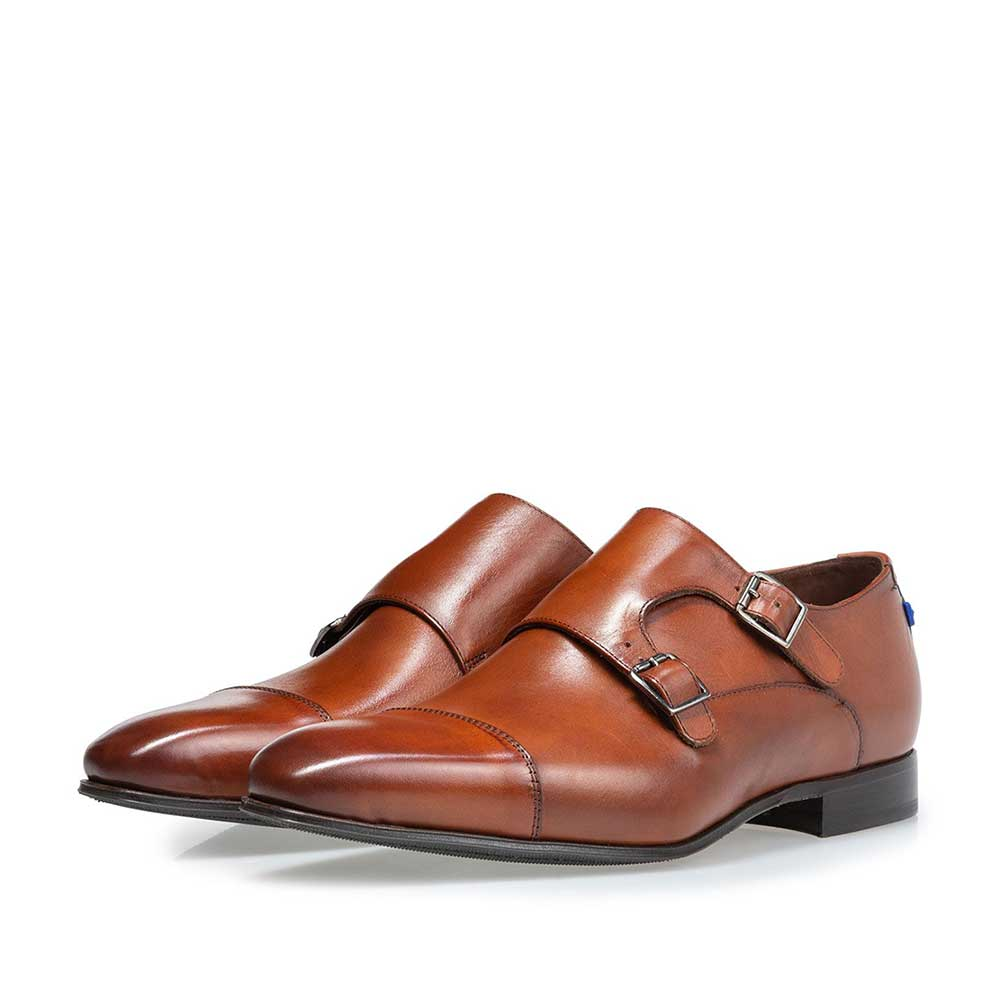 12390/00 - Buckle shoe calf leather cognac