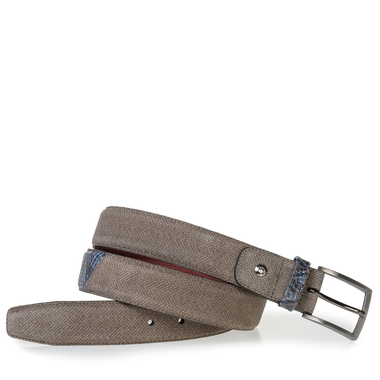 75188/56 - Beige suede leather belt with print