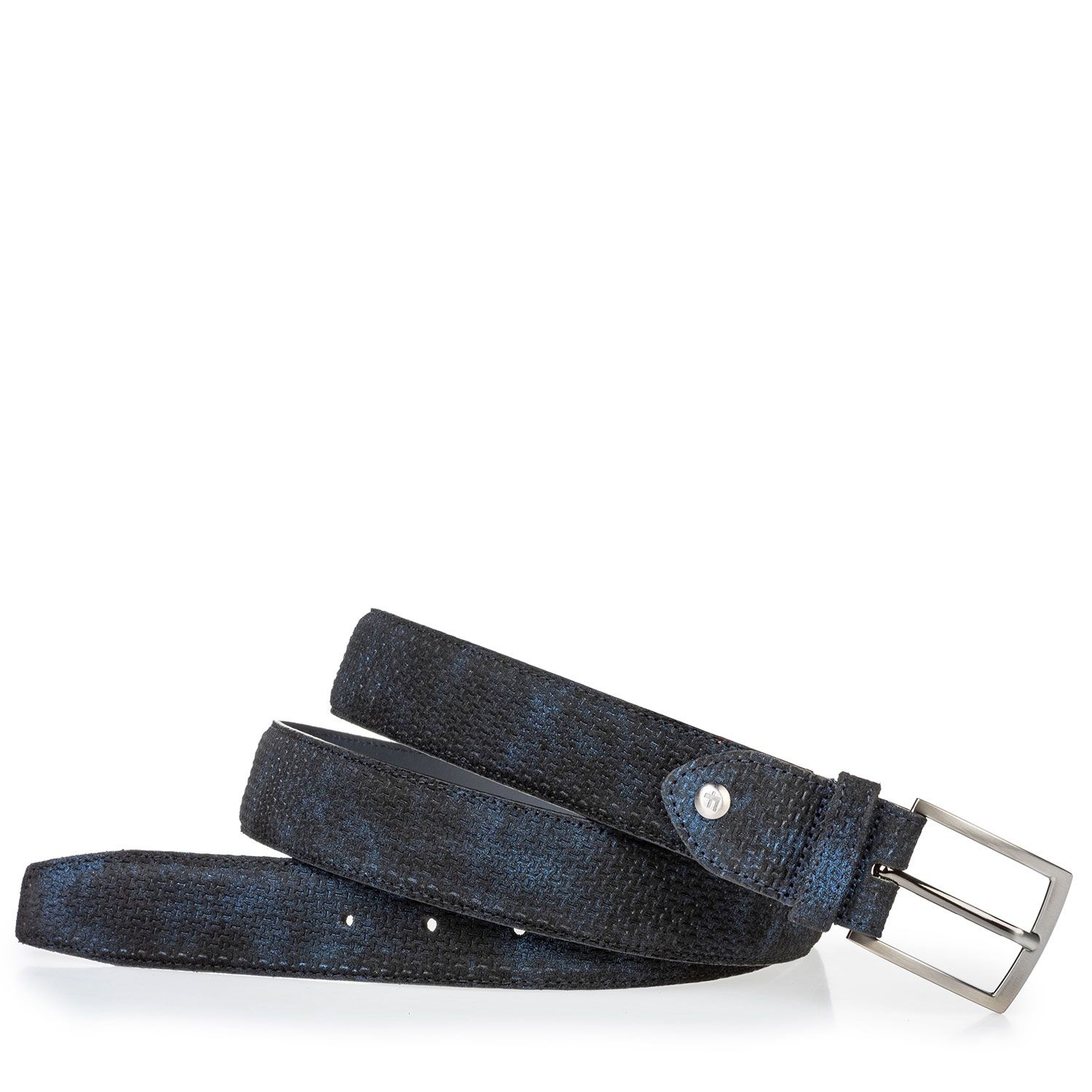 75203/46 - Suede leather belt blue with print