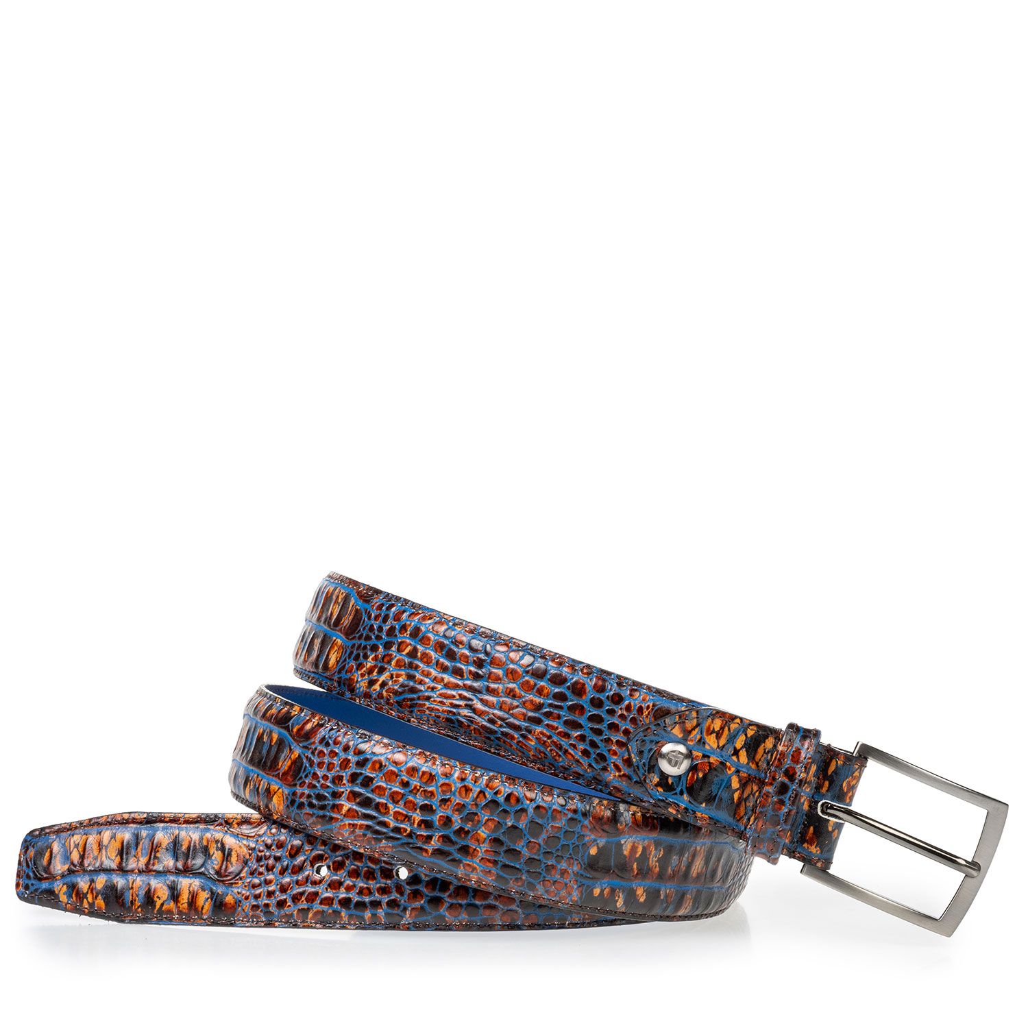 75203/24 - Leather belt croco print cognac