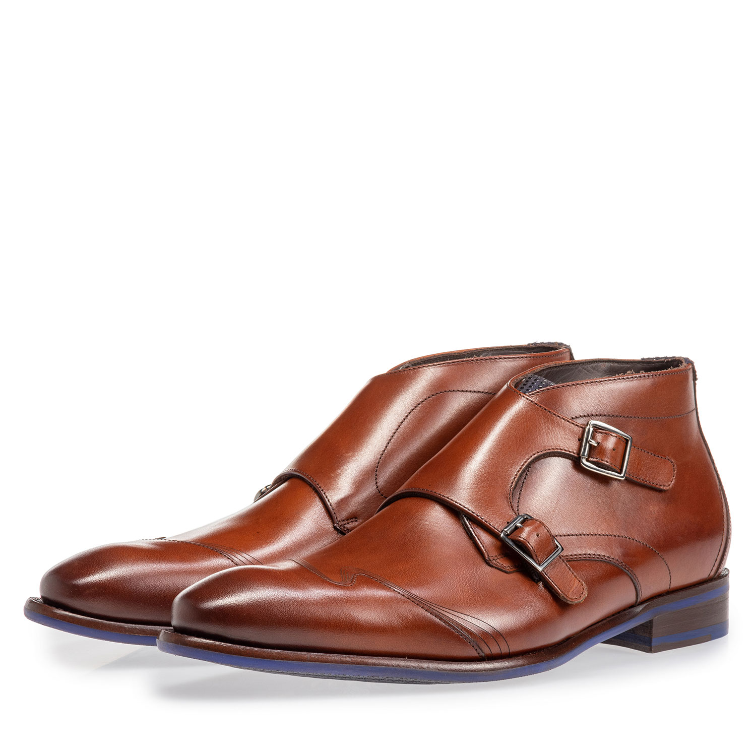 20197/00 - Buckle shoe calf leather cognac