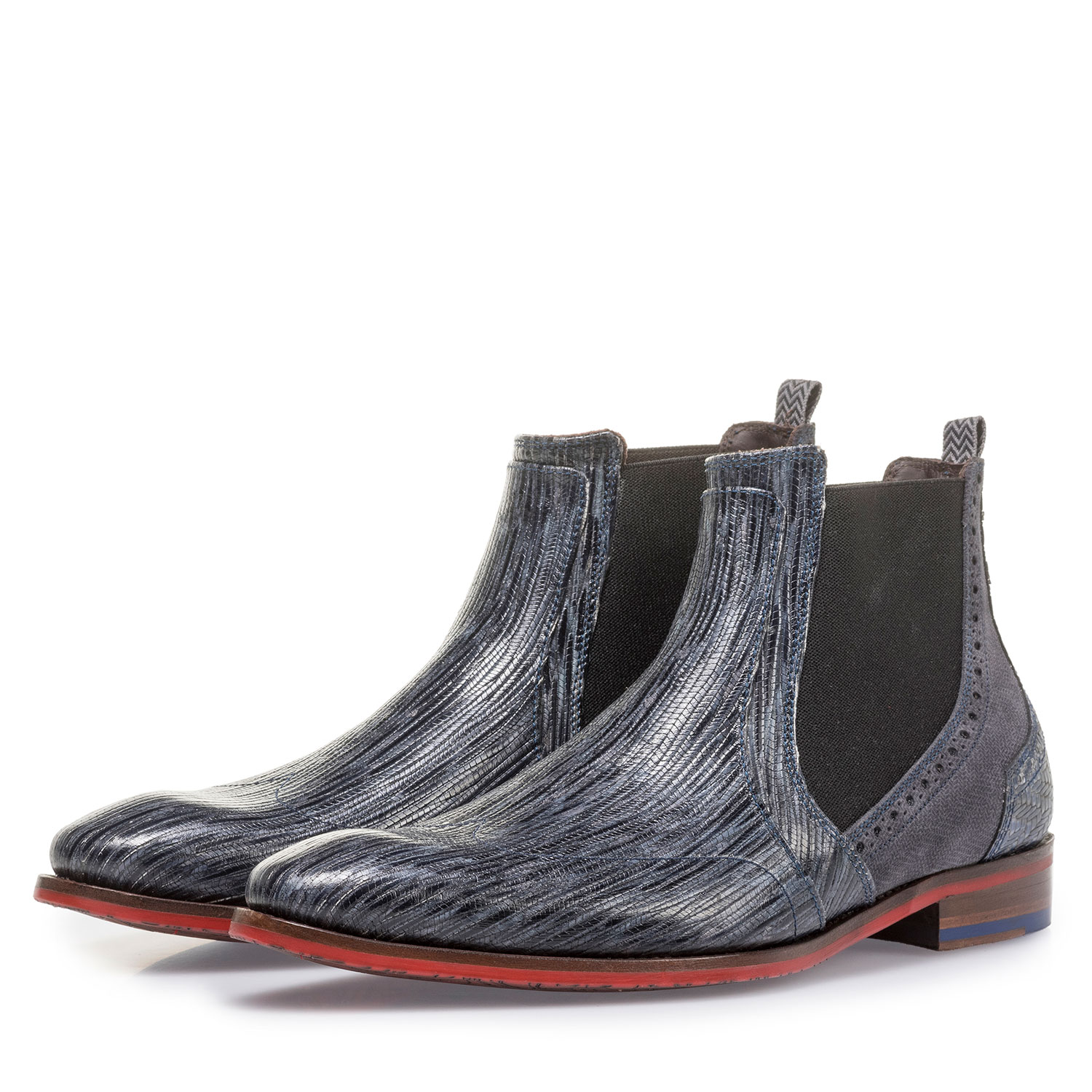 10455/12 - Grey and blue leather Chelsea boot with print
