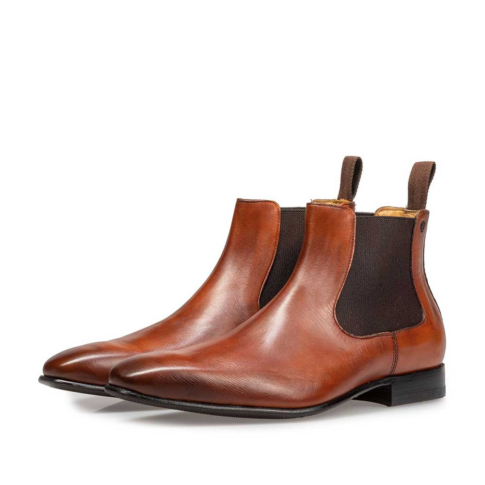 10537/00 - Dark cognac-coloured calf leather Chelsea boot