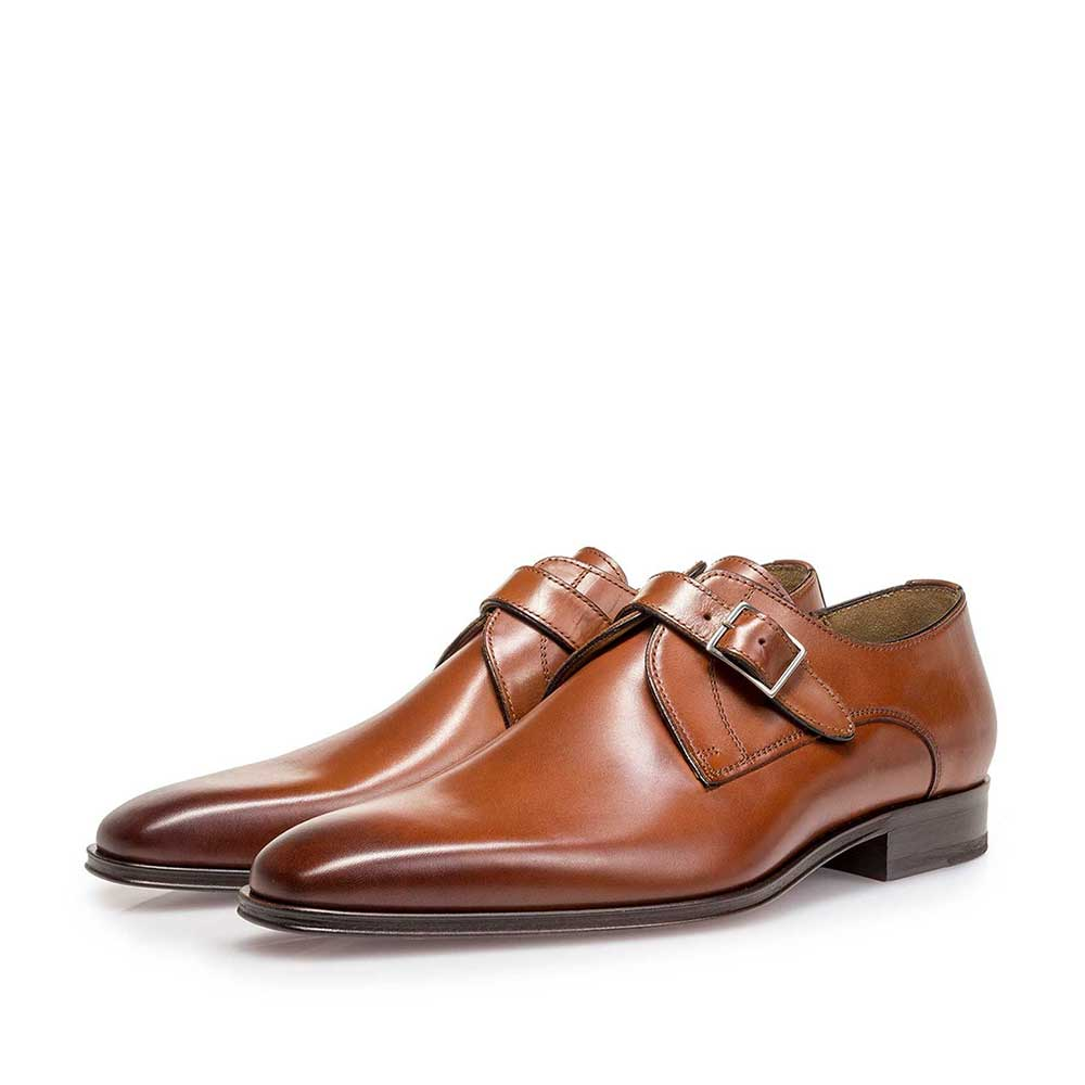 12099/00 - Cognac-coloured calf leather monk strap